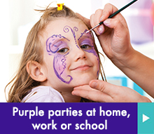 Purple parties at home, school or work