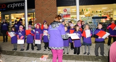 Furzefield pupils singing outside Tesco