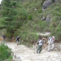 people hiking Everest foothills