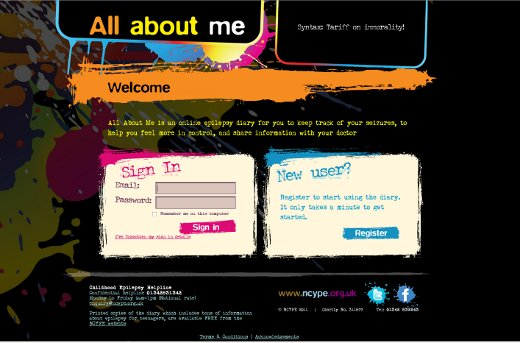 all about me -- login page